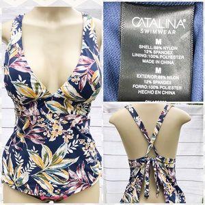 Catalina Floral Open Back Tankini Top Medium